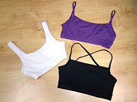 Dance bras, sports bras and crop tops for teenagers and adults.