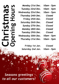 Dance shop Christmas opening hours for Dancers Boutique 2015.