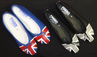Union Jack opera shoes in monotone or bold colours.