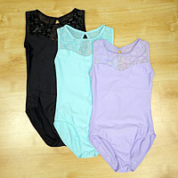 New Wear Moi Leotards collection with lace detail in Lilac, Aqua and Black. Get your dance direct from Dancers Boutique.