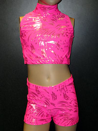 Pink sparkle crop top and shorts set.