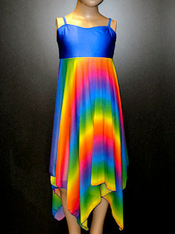 Rainbow lyrical dress for freestyle dance, ballroom and contemporary.