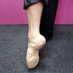 split sole leather ballet shoes.