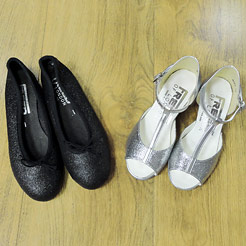 Ballroom shoes for children, silver shoes.