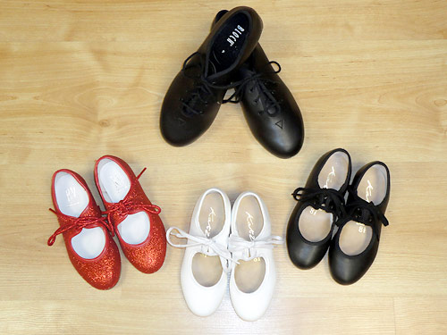 childrens tap shoes, red tap shoes, sparkle tap shoes.